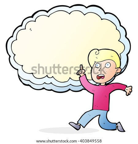 cartoon running boy in front of idea cloud with space for text - stock vector
