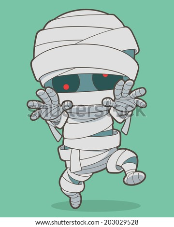 Cartoon running mummy. Vector clip art illustration with simple gradients. All in a single layer. - stock vector