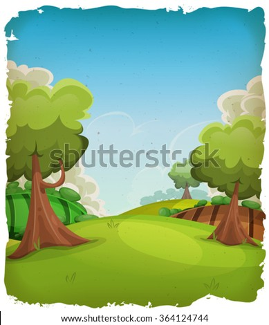 Cartoon Rural Landscape Background/ Illustration of a cartoon summer or spring rural landscape, with trees, meadows and harvest fields, and cloudscape over blue sky with grunge frame - stock vector