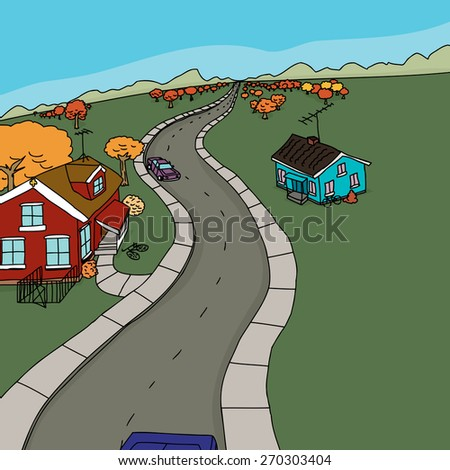 Cartoon rural scene of cars on road near two houses