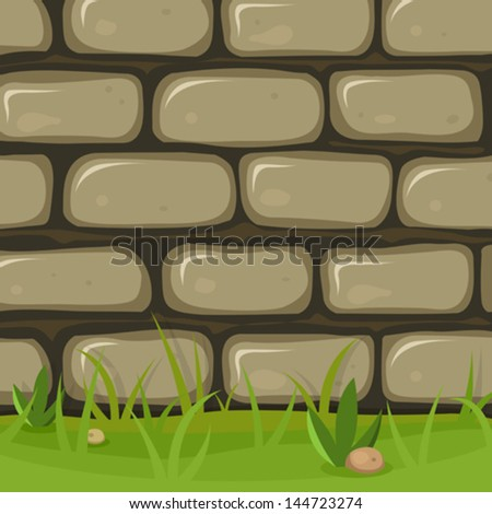 Cartoon Rural Stone Wall/ Illustration of a cartoon rural stone wall background with bricks of rock, grass leaves and lawn - stock vector