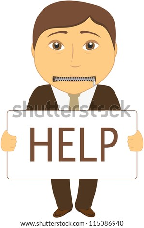 cartoon sad man with mouth closed with a zipper asks for help - stock vector