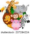 Cartoon safari animals - stock vector