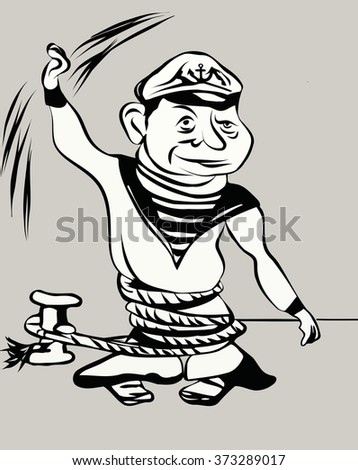 cartoon sailor tied with a bow waving