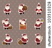 cartoon santa claus Christmas stickers - stock vector