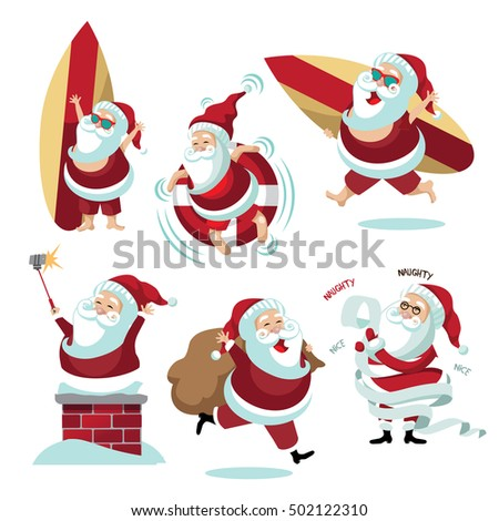 Cartoon Santa Claus collection summer and winter.  EPS 10 vector.