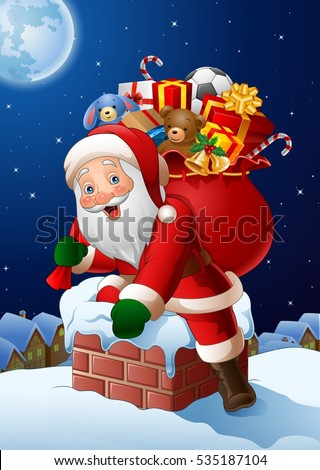 Cartoon Santa Claus enters a home through the Chimney