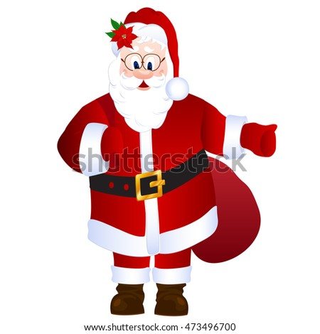 Cartoon Santa Claus holding bag with gifts, with thumb up