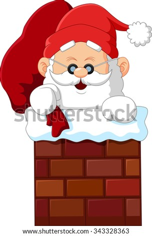 cartoon santa claus in chimney