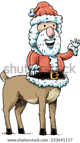 Cartoon Santa Claus with a centaur body gives a friendly wave.