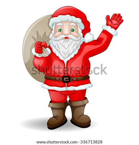 Cartoon Santa Claus with bag - stock vector