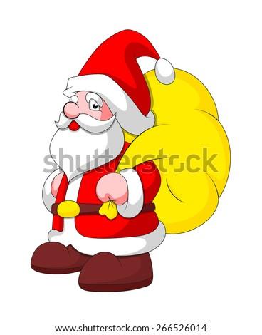 Cartoon Santa Claus with Gift Bag - stock vector