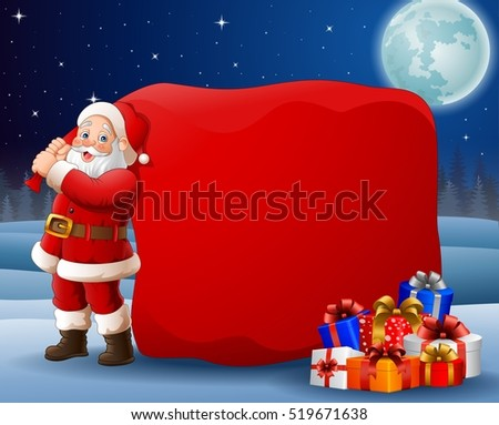 Cartoon Santa Clause pulling big bag