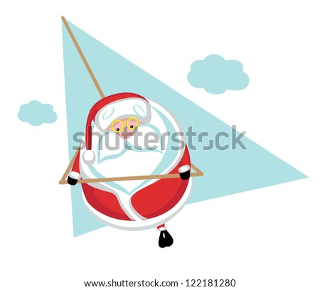 Cartoon  Santa  flying on hang glider .Separate layers - stock vector