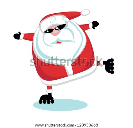 Cartoon  Santa  roller.Separate layers - stock vector