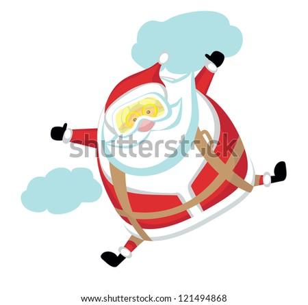 Cartoon  Santa  skydiver.Separate layers - stock vector