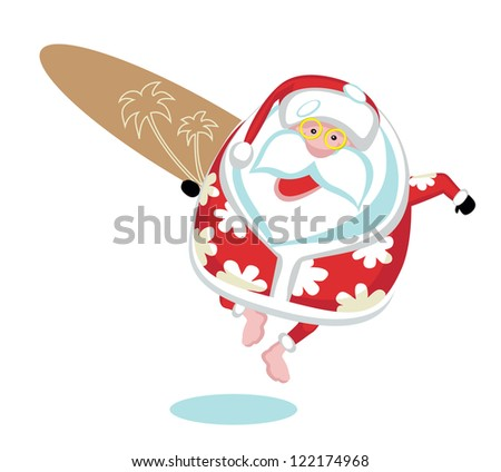 Cartoon  Santa surfer.Separate layers - stock vector