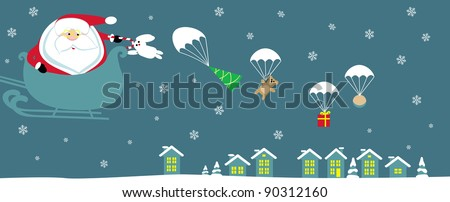 Cartoon Santa with bell in sleight dropping presents with parachutes. Vector - stock vector