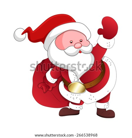 Cartoon Santa with Gift Bag