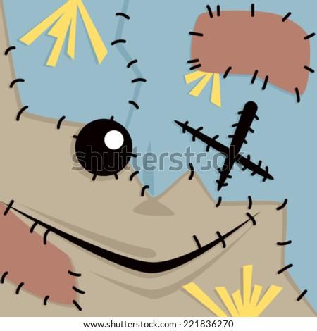 Cartoon Scarecrow Face - stock vector