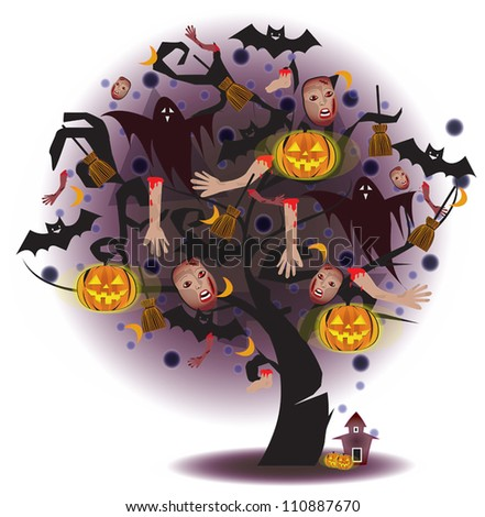 Cartoon scary Tree of horror with pumpkin, ghost, and limbs for Halloween festival or use with any other horror stuff. Create by vector