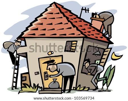 Cartoon scene of 4 thieves break into house - stock vector