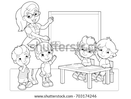 cartoon scene with children and teacher in the classroom holding hands up vector coloring page