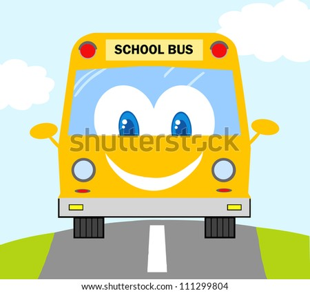Cartoon School Bus - stock vector
