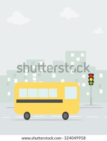 cartoon school bus in the city - stock vector
