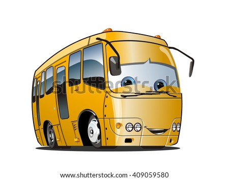 Cartoon School Bus isolated on white background. Available EPS-10 vector format separated by groups and layers for easy edit - stock vector
