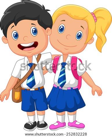 Cartoon school children  - stock vector