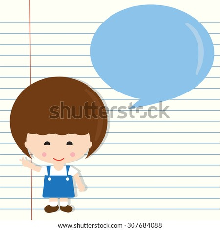 cartoon school girl with speech bubble on  notebook paper, Vector EPS 10.      - stock vector