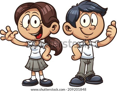 Cartoon school kids in uniform. Vector clip art illustration with simple gradients. Each on a separate layer. - stock vector