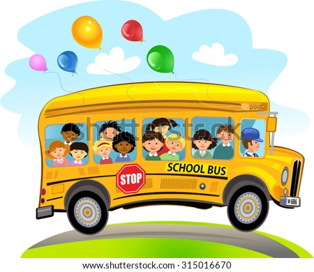 cartoon school kids riding school bus stock vector royalty free rh shutterstock com School Bus Illustration School Bus Illustration