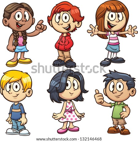 cartoon school kids vector clip art illustration with simple gradients each in a separate