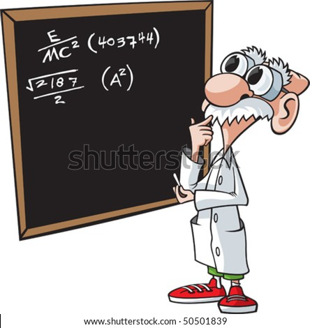 Cartoon scientist. Vector file. Scientist and chalkboard are on separate layers. - stock vector