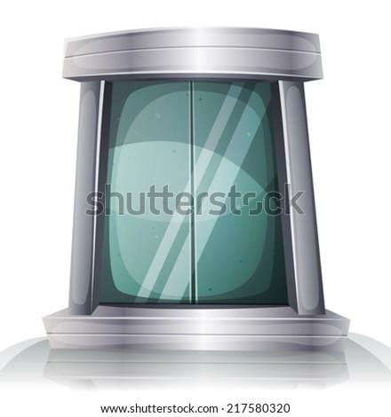 Cartoon Scifi Iron Elevator Door/ Illustration of a cartoon comic futuristic scifi iron elevator door with silver metal doorframe - stock vector