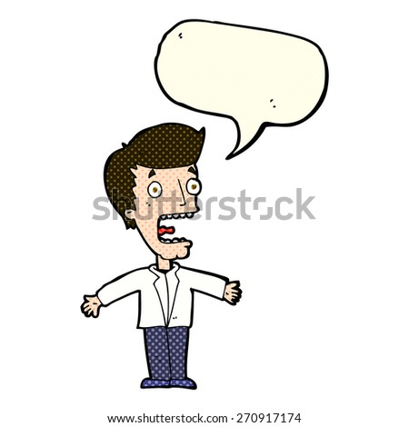 cartoon screaming man with speech bubble - stock vector