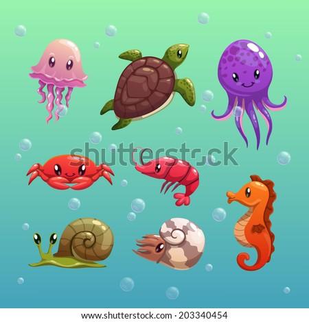 Cartoon sea animals, vector - stock vector