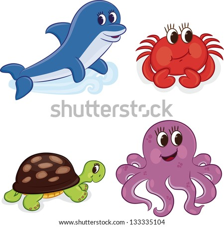 Cartoon sea animals. Vector illustration