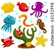 cartoon sea creatures - stock vector