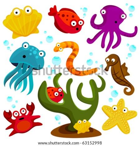 cartoon sea creatures - stock vector