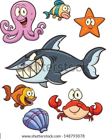 Cartoon sea creatures. Vector clip art illustration. Each element on a separate layer.  - stock vector