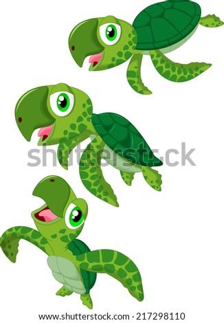 Cartoon sea turtle - stock vector