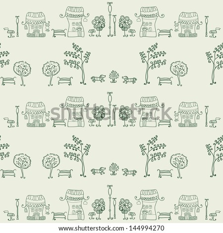 Cartoon seamless hand drawing street with houses. Background. These rows of houses can be used as wallpaper in the nursery, the pattern on the fabric, wallpaper or background of the web page. - stock vector