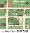 cartoon seamless map - stock vector