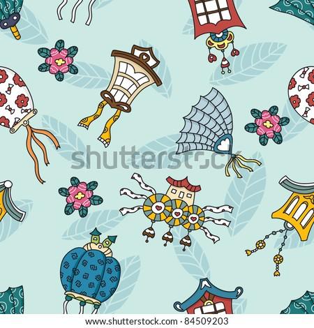 cartoon seamless pattern in japanese style - stock vector