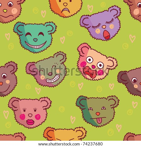 Cartoon seamless pattern made of funny bears - stock vector