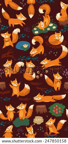 Cartoon seamless pattern with cute foxes. Forest background in night colors - stock vector