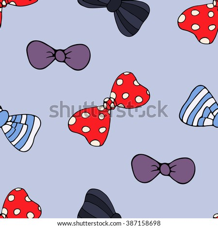 Cartoon seamless pattern with different funny  bow-tie on blue background - stock vector